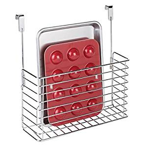 mDesign Metal Over Cabinet Kitchen Storage Organizer Holder or Basket - Hang Over Cabinet Doors in Kitchen/Pantry - Holds Bakeware, Cookbook, Cleaning Supplies - Steel Wire in Chrome